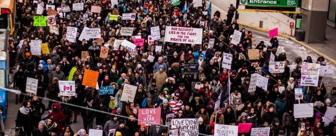 Thousands march in the streets of downtown Toronto Against Islamophobia and White Supremacy on February 4, 2017